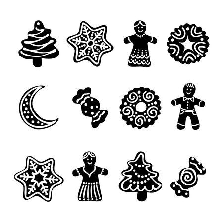 Set web icon. Christmas gingerbread cookies Vector