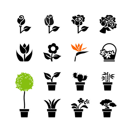 aloe vera flowers: Web icons set - flowers and potted plants Illustration