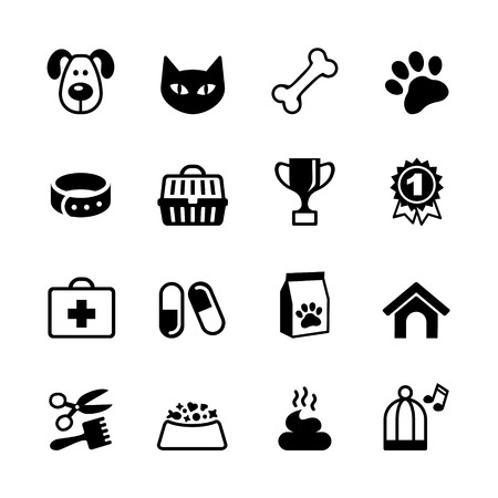 cat grooming: Pets icons set