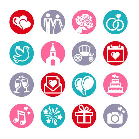 c�r�monie mariage: 16 web icons set. Mariage, mari�e et le mari�, amour, c�l�bration. Illustration