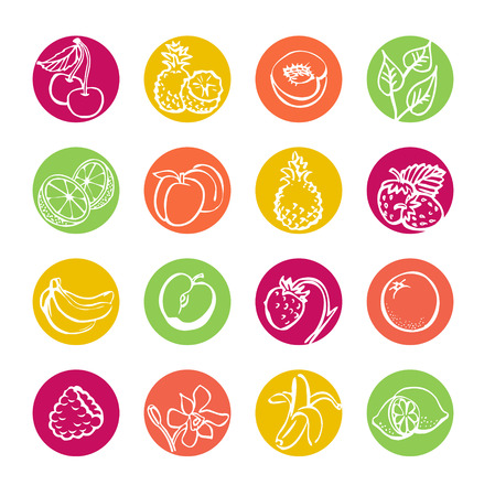 Web icons set. Fruits and berries. Health food Vector