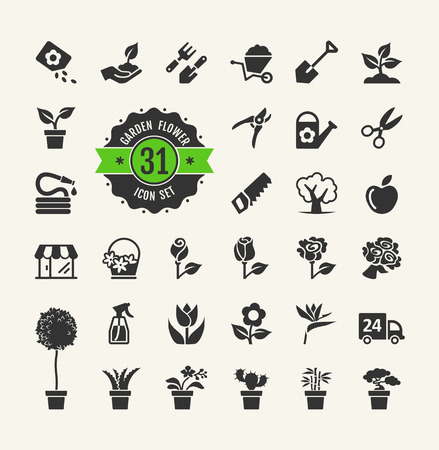 Flower and Gardening Tools Icons set Illustration