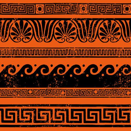 friso: Adornos fronterizas griegas antiguas, meandros Vectores