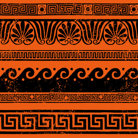 Ancient Greek border ornaments, meanders Vector