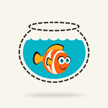 Cartoon Tropical Fish in a Fishbowl Vector