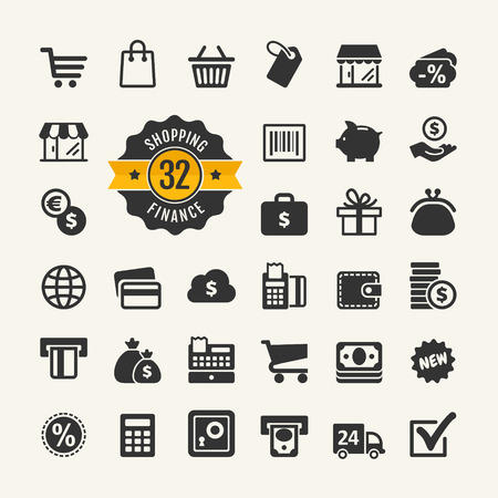 Web icon set - shopping, money, finance 일러스트