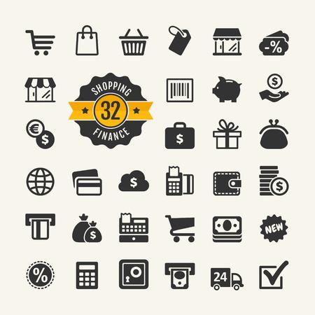 bank cart: Web icon set - shopping, money, finance Illustration