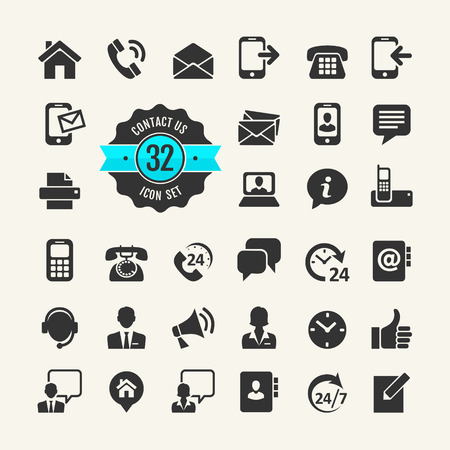 line up: Web icon set. Contact us