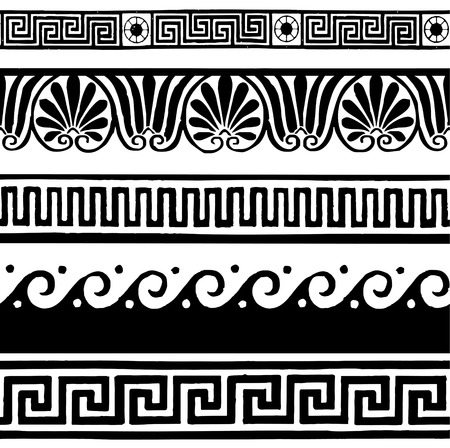 ancient roman: Greek style seamless borders - hand drawing