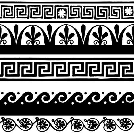 friso: Estilo griego fronteras sin costura - dibujo a mano Vectores