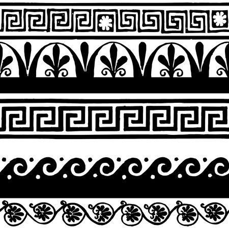 Greek style seamless borders - hand drawing Vector