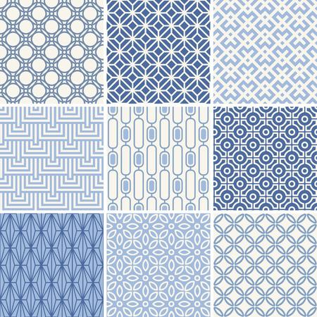 Seamless oriental geometric patterns set in blue
