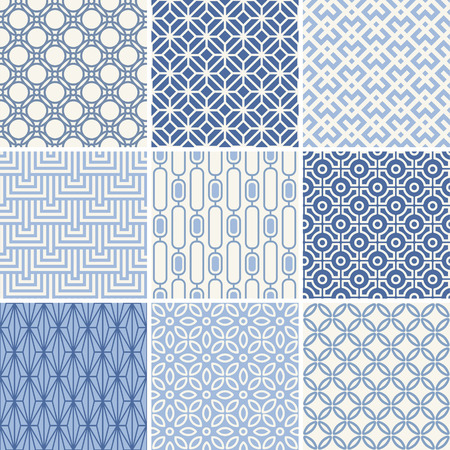 Seamless oriental geometric patterns set in blue