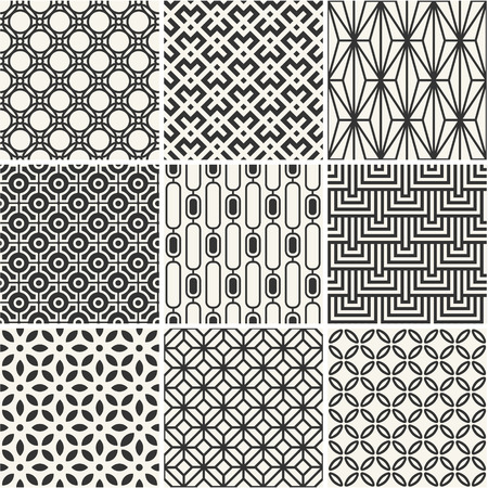Set of endless monochrome simple backgrounds