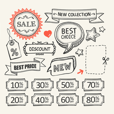 discount banner: Sale tags. Shopping. A set of hand drawn elements.