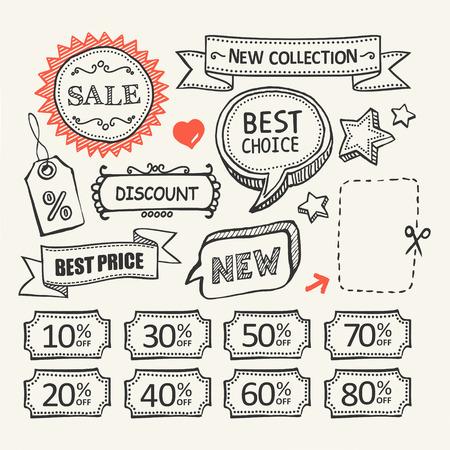 Sale tags. Shopping. Un ensemble d'éléments dessinés à la main. Banque d'images - 34479753