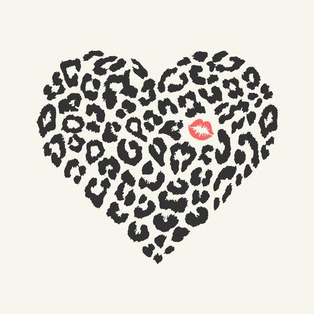 bacio: Vector forma di cuore - trama leopardo con bacio di stampa
