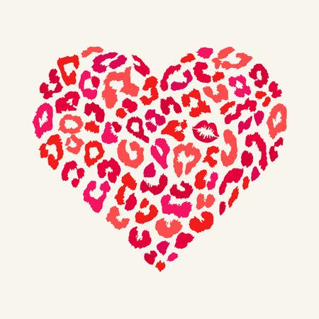 Vector heart shape - Leopard texture with kiss print Vector