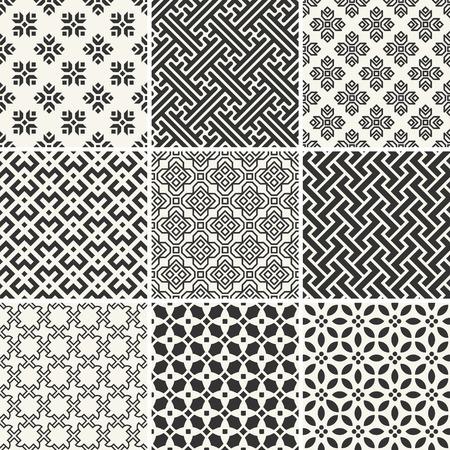 무한 흑백 단순한 패턴의 집합 일러스트