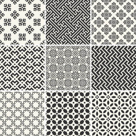 Set of endless monochrome simple patterns
