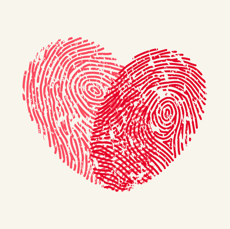 Fingerprint Love Heart Vettoriali