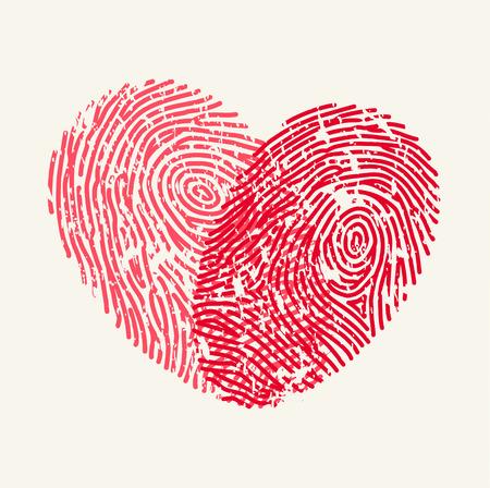 silhouette coeur: Love Heart empreintes digitales