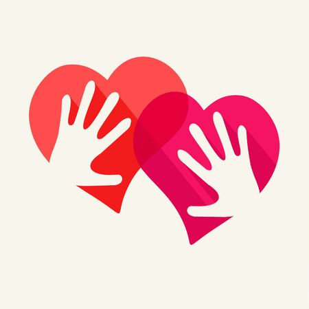 two hearts: Two hearts and two hands - symbol of love Illustration