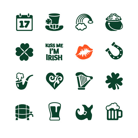 Icons collection with White Background - Saint Patrick Vector