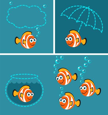 Tropical Fish - doodle set Vector