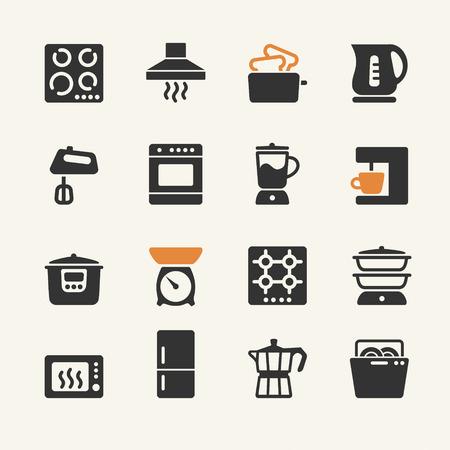 microondas: Aparatos electrodomésticos para la cocina. Colección de los iconos del Web