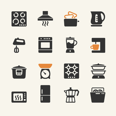 microwave oven: Household appliances for the kitchen. Web icons collection