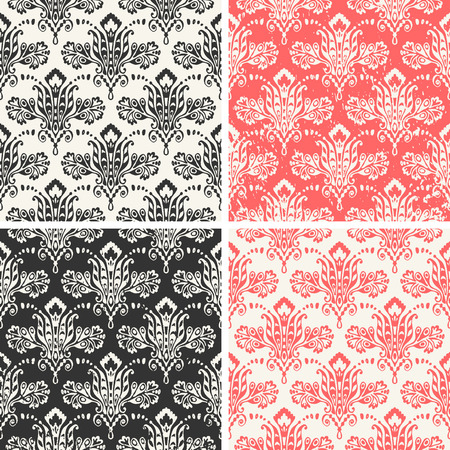 Medieval floral seamless in damask style for design. Vector