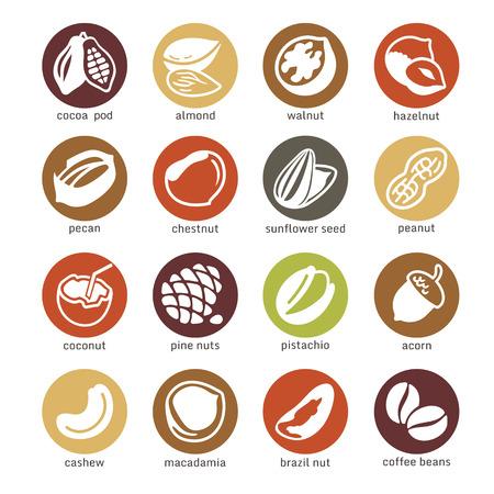 Web pictogrammen collectie - noten, bonen en zaden