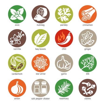 ESPECIAS: Web icono conjunto - especias, condimentos y hierbas