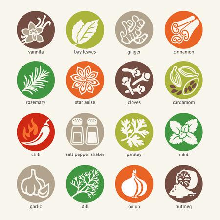 �pices: Web icon set - �pices, condiments et d'herbes Illustration