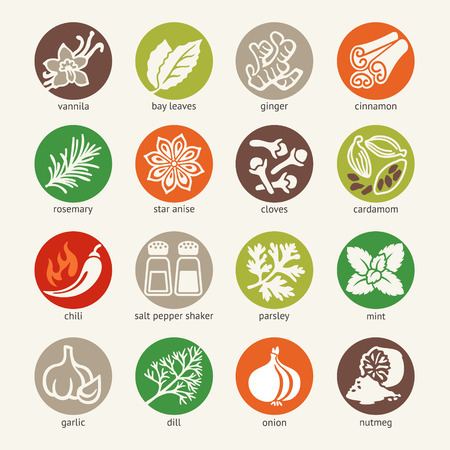 condiments: web icon set - spices, condiments and herbs