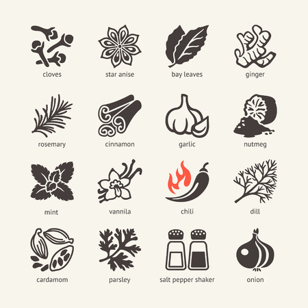 indian spices: Web icon set - spices, condiments and herbs