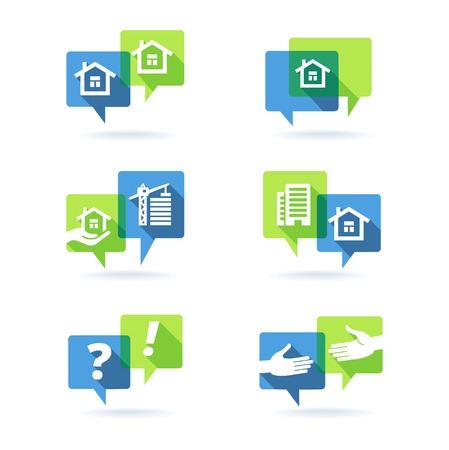 Real estate speech clouds collection. Vector