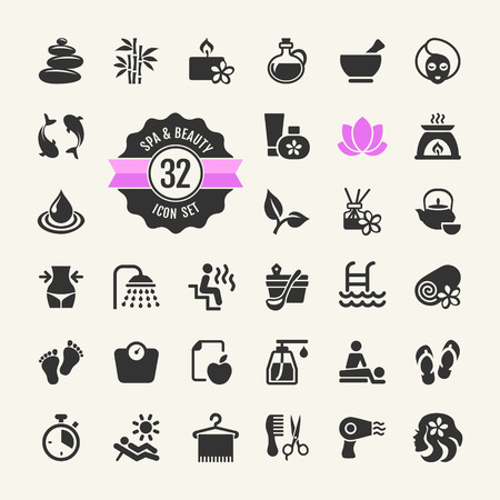 massage spa: Spa & Beauty Icons Set