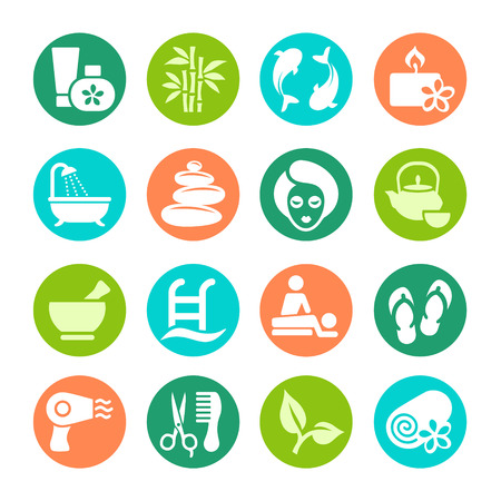 massage stones: Spa icons set, stock vector