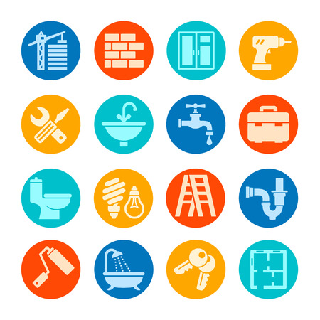home construction: Home repair web icon set