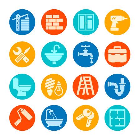ca�er�as: Reparaci�n casera web icono conjunto