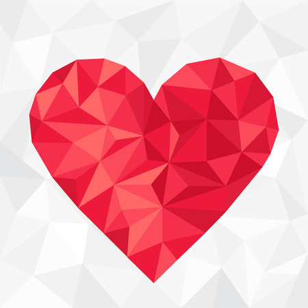 colorful heart: Polygonal red heart.