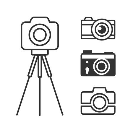 reflex camera: Photo camera icons set for web and info-graphics