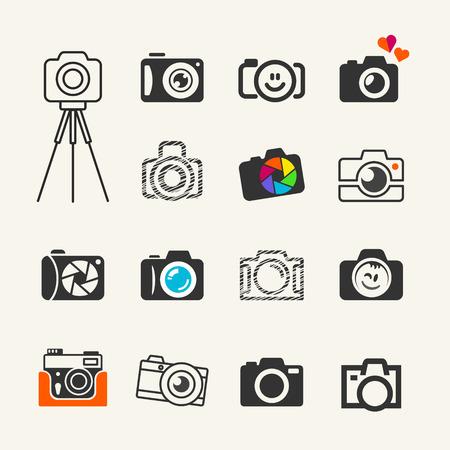 reflex camera: Photo camera icons set for web and infographics