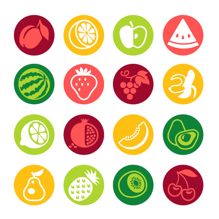 range fruit: Set of colorful simple icons - fruits and berries Illustration