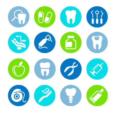 dentures: Set of web icons - teeth, dentistry, medicine, health Illustration