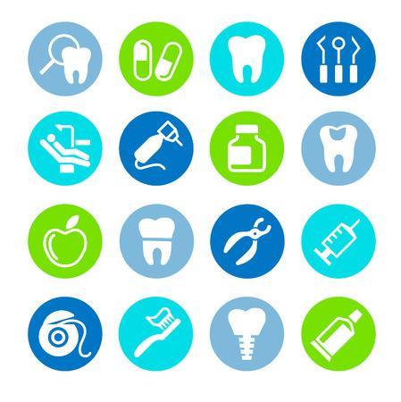 Set of web icons - teeth, dentistry, medicine, health  イラスト・ベクター素材