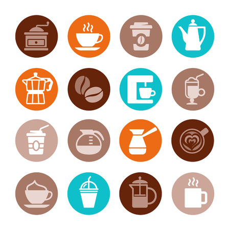 coffee shop: Colorful coffee icon set on white. Vector illustration