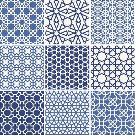 pattern sans soudure: Ensemble de mod�les sans couture arabes, vecteur Illustration